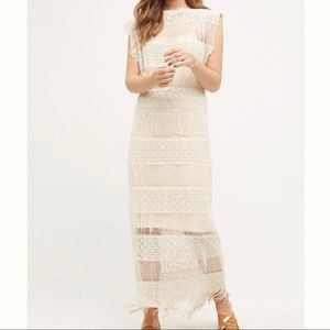 Fringed Crochet Maxi Dress w/ Detachable Slip